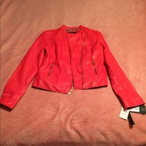 Black Rivet Red-Orange Leather Jacket